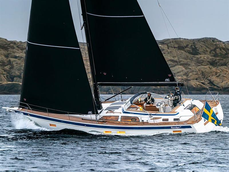 The all new Hallberg-Rassy 50 with exotic sails and spars